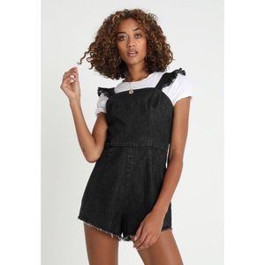 Black Denim Washed Ruffle Romper